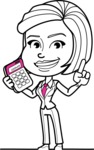 Cute Black and White Woman Cartoon Vector Character AKA Debora - Calculator