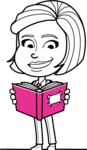 Cute Black and White Woman Cartoon Vector Character AKA Debora - Book 1