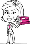 Cute Black and White Woman Cartoon Vector Character AKA Debora - Book 2