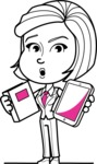Cute Black and White Woman Cartoon Vector Character AKA Debora - Book and iPad