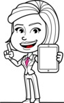 Cute Black and White Woman Cartoon Vector Character AKA Debora - iPad 1