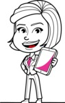 Cute Black and White Woman Cartoon Vector Character AKA Debora - iPad3
