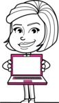 Cute Black and White Woman Cartoon Vector Character AKA Debora - Laptop 3