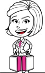 Cute Black and White Woman Cartoon Vector Character AKA Debora - Brifcase 3