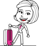 Cute Black and White Woman Cartoon Vector Character AKA Debora - Travel 1