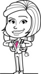 Cute Black and White Woman Cartoon Vector Character AKA Debora - Travel 2