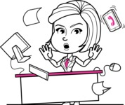 Cute Black and White Woman Cartoon Vector Character AKA Debora - Office Fever