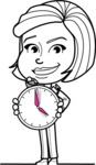 Cute Black and White Woman Cartoon Vector Character AKA Debora - Time is Yours