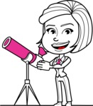 Cute Black and White Woman Cartoon Vector Character AKA Debora - Telescope