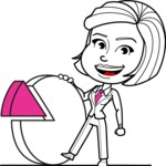 Cute Black and White Woman Cartoon Vector Character AKA Debora - Chart