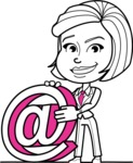 Cute Black and White Woman Cartoon Vector Character AKA Debora - Email