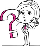 Cute Black and White Woman Cartoon Vector Character AKA Debora - Question