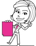 Cute Black and White Woman Cartoon Vector Character AKA Debora - Sign 2