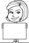 Cute Black and White Woman Cartoon Vector Character AKA Debora - Sign 5