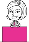 Cute Black and White Woman Cartoon Vector Character AKA Debora - Sign 6