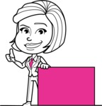 Cute Black and White Woman Cartoon Vector Character AKA Debora - Sign 7
