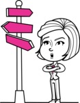 Cute Black and White Woman Cartoon Vector Character AKA Debora - Crossroad