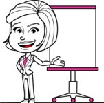 Cute Black and White Woman Cartoon Vector Character AKA Debora - Presentation 1