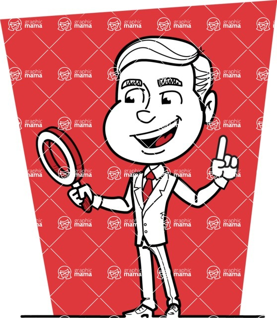 Black and White Businessman Cartoon Vector Character AKA James - Shape 5