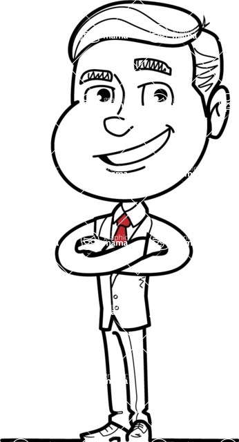 Black and White Businessman Cartoon Vector Character AKA James - Patient