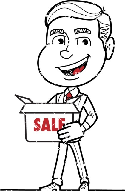Black and White Businessman Cartoon Vector Character AKA James - Sale