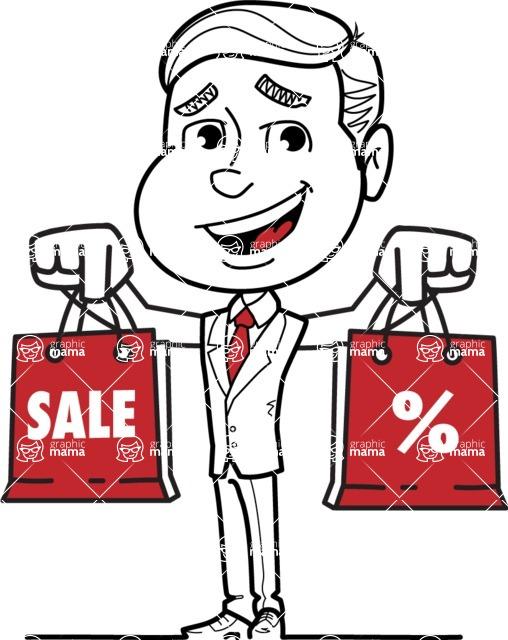 Black and White Businessman Cartoon Vector Character AKA James - Sale2
