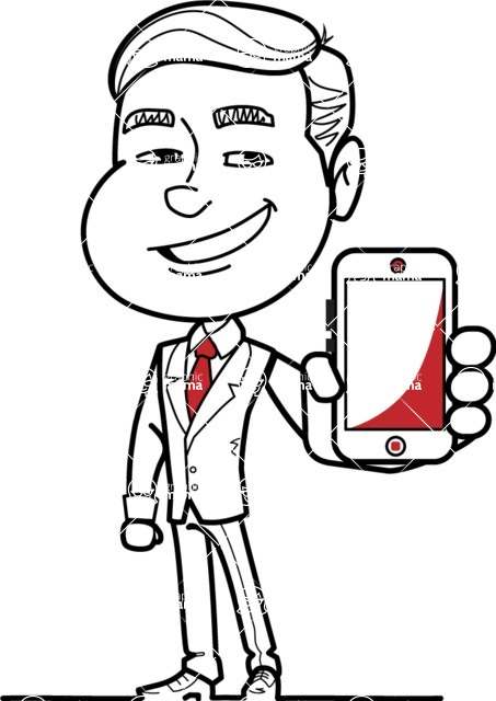 Black and White Businessman Cartoon Vector Character AKA James - iPhone