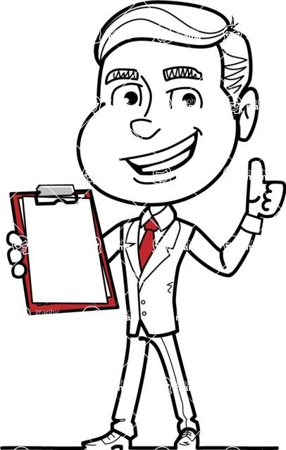Black and White Businessman Cartoon Vector Character AKA James - Notepad 1