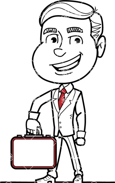 Black and White Businessman Cartoon Vector Character AKA James - Brifcase 1