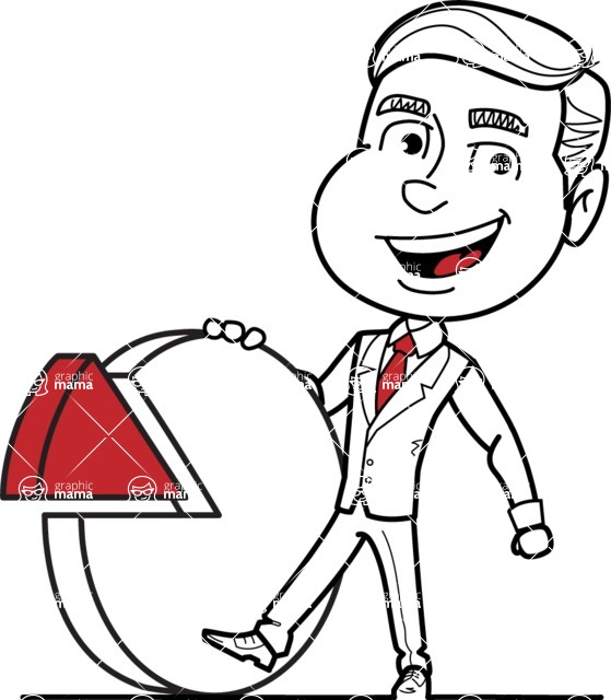 Black and White Businessman Cartoon Vector Character AKA James - Chart