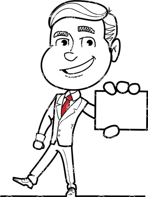 Black and White Businessman Cartoon Vector Character AKA James - Sign 1