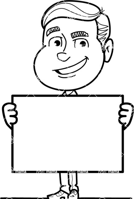 Black and White Businessman Cartoon Vector Character AKA James - Sign 5