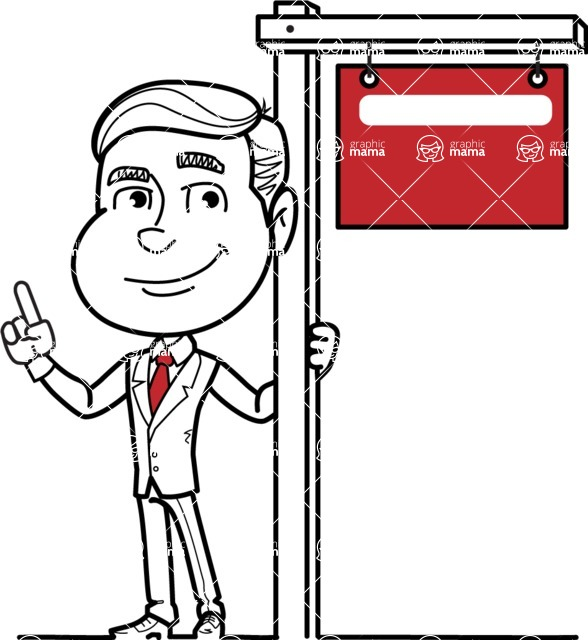 Black and White Businessman Cartoon Vector Character AKA James - Sign 9