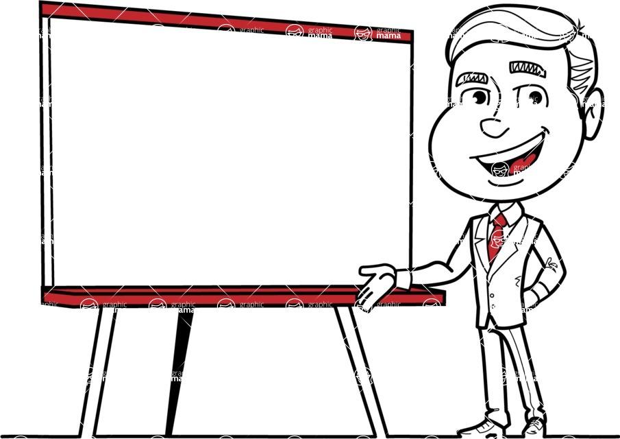 Black and White Businessman Cartoon Vector Character AKA James - Presentation 2