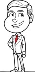 Black and White Businessman Cartoon Vector Character AKA James - Normal