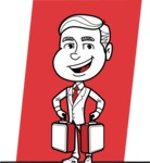 Black and White Businessman Cartoon Vector Character AKA James - Shape 7
