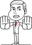 Black and White Businessman Cartoon Vector Character AKA James - Stop 2