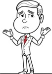 Black and White Businessman Cartoon Vector Character AKA James - Sad