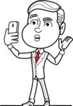 Black and White Businessman Cartoon Vector Character AKA James - Duckface