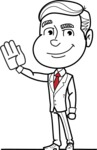Black and White Businessman Cartoon Vector Character AKA James - Hello