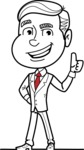 Black and White Businessman Cartoon Vector Character AKA James - Thumbs Up