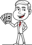 Black and White Businessman Cartoon Vector Character AKA James - Show me the Money