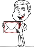 Black and White Businessman Cartoon Vector Character AKA James - Letter