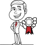 Black and White Businessman Cartoon Vector Character AKA James - Ribbon