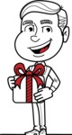 Black and White Businessman Cartoon Vector Character AKA James - Gift