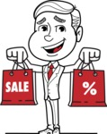 Black and White Businessman Cartoon Vector Character AKA James - Sale2