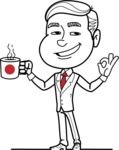 Black and White Businessman Cartoon Vector Character AKA James - Coffee