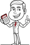 Black and White Businessman Cartoon Vector Character AKA James - Calculator