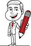Black and White Businessman Cartoon Vector Character AKA James - Pencil