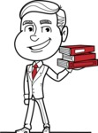Black and White Businessman Cartoon Vector Character AKA James - Book 2
